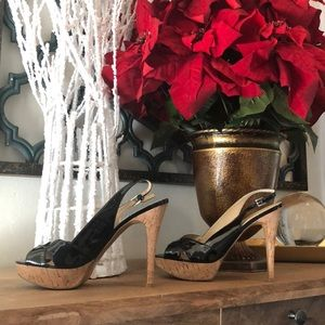 Guess Black Patent Leather/ Cork High Heels